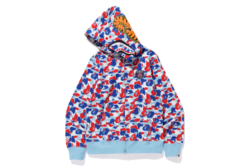3b6c14397ad5 The same pattern appears on white red blue and tonal blue full-zip Shark  Head hoodies