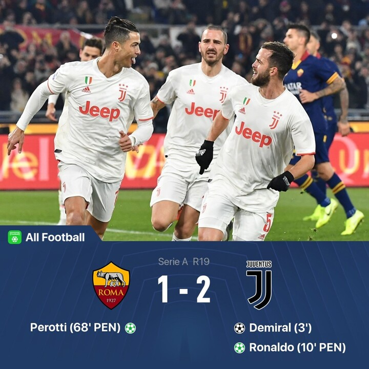 Roma 1 2 Juve Ronaldo Sends Bianconeri 2 Pts Clear But Demiral Is Injured All Football