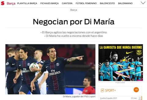 Barcelona are indeed negotiating with Angel Di Maria (Diario Sport)